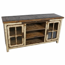 Old Wood and Cream Patina Entertainment Console with Glass Doors