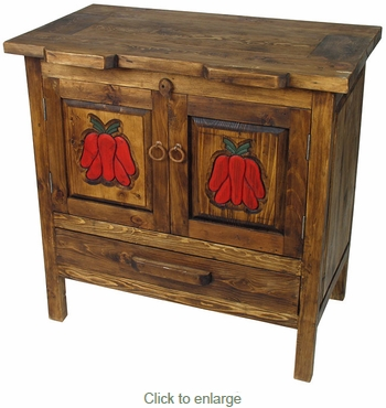 Old Wood Carved Chili Pepper Buffet