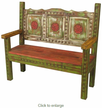 Old Wood Carved & Painted Bench