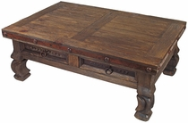 Old Wood Iron Banded Ox Yoke Coffee Table - 4 Drawers