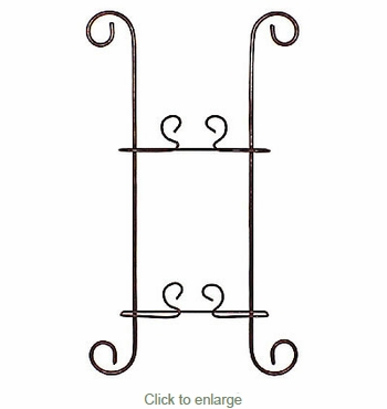 Ornate Iron Hanging Plate Rack - Holds 2 Plates