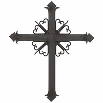"Mexican Rustic Wrought Iron Wall Cross - 22"" Tall"