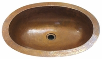 Oval Wide Lipped Hammered Copper Sink