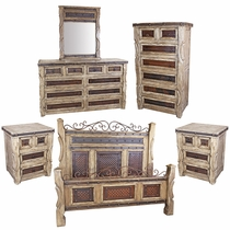 Ox Yoke Rustic 5-Piece Bedroom Set with Hammered Iron Accents