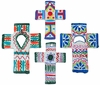 Painted Clay Cross Ornaments - Set of 2