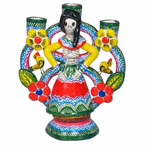 Painted Clay Day of the Dead Skeleton Candlestick