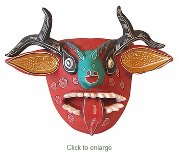 Painted Clay Deer with Tongue Mask