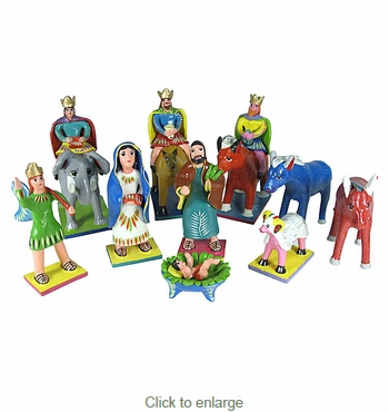 Painted Clay Nativity Set Extra Large - 10 piece