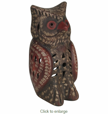 Painted Clay Owl Light