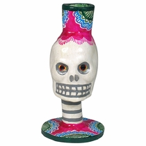 Painted Clay Skull Day of the Dead Candlestick