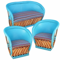 Painted Equipale Sofa and Lounge Chair Set with Upholstered Seats