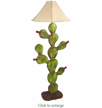 Painted Iron Prickly Pear Cactus Floor Lamp