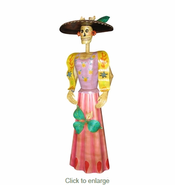 Painted Metal Catrina Sculpture - Small