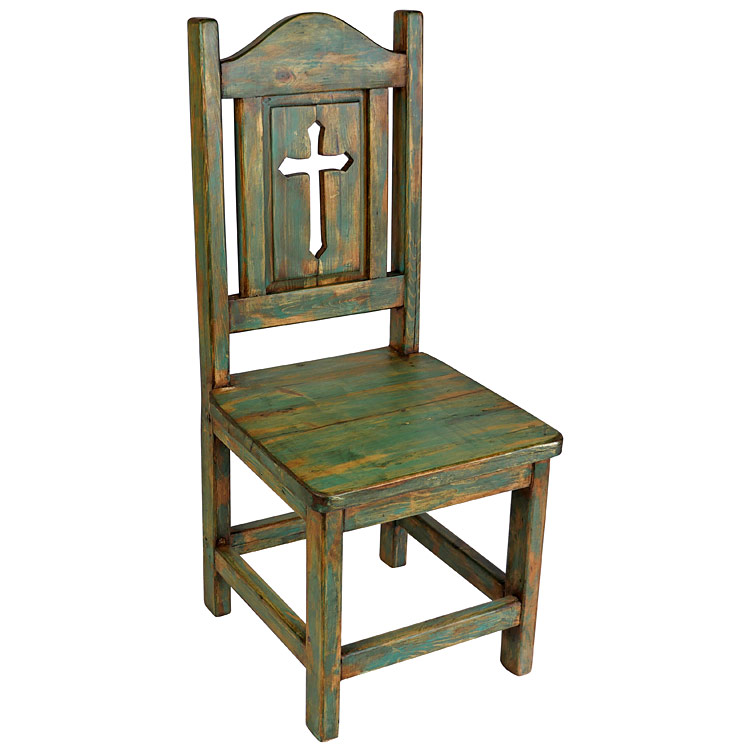 painted mexican pine dining chair with cross back