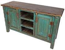 Painted Rustic Wood Entertainment Console or Credenza - Teal