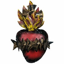 Painted Tin Burning Crown Heart Decoration