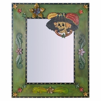 Painted Tin Catrina Mexican Folk Art Mirror