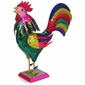 Painted Tin Crowing Rooster Figurine