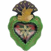 Painted Tin Flower Heart Wall Decoration
