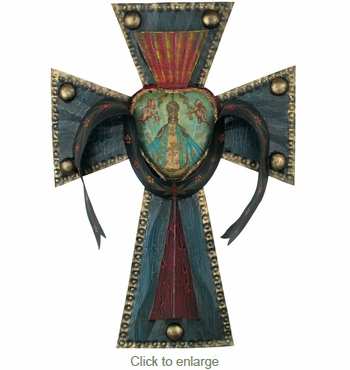 Painted Tin Heart Cross with Virgin