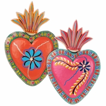 Painted Tin Heart Mexican Folk Art Wall Plaques - Set of 2