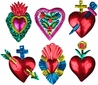 Painted Tin Heart Ornaments - Set of 6