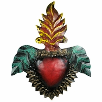 Painted Tin Leaf-Flame Heart Decoration