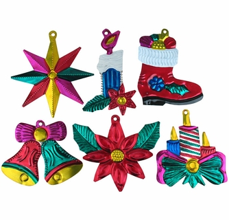 Painted Tin Mexican Christmas Ornaments - Per Doz