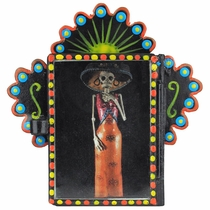 Painted Tin Micro Nicho with Catrina Print