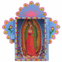 Painted Tin Micro Nicho with Virgin of Guadalupe Print