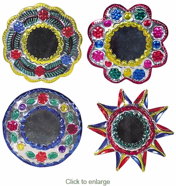 Painted Tin Mirror Christmas Ornaments - 12