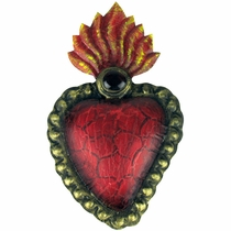 Painted Tin Raised Flaming Heart Wall Decor