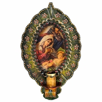 Painted Tin Reliquary Wall Sconce