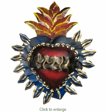 Painted Tin Spiked Crown Heart Decoration