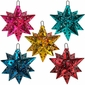 Painted Tin Star Mexican Ornaments - Set of 5