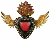 Painted Tin Winged Heart Decoration