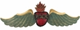 Painted Tin Winged Heart Door Ornament
