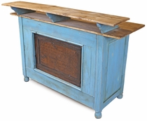 Painted Wood Bar with Iron Panel Front