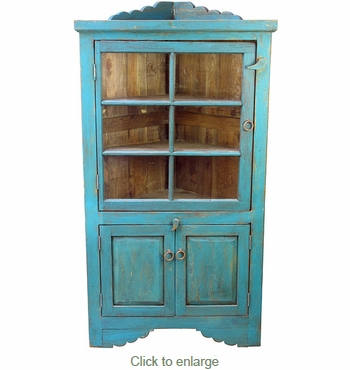 Wood Blue Corner Cabinet with Glass