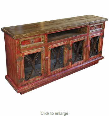 Painted Wood Buffet/Entertainment Console with Scrolled Iron Doors