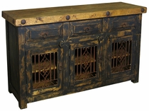 Painted Wood Buffet or Entertainment Console with Iron Inserts