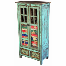 Painted Wood Cabinet With Multi Color Slat And Glass Window Doors