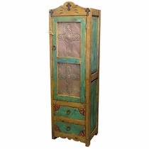 Painted Wood Cabinet with Tin Inserts