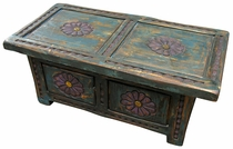 Painted Wood Carved Coffee Table Storage Trunk