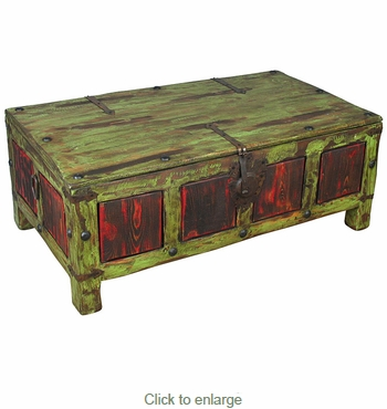 Painted Wood Coffee Table Trunk Green Red
