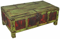 Painted Wood Coffee Table Trunk - Green & Red