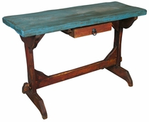 Mexican Painted Wood Console or Hall Desk with Drawer