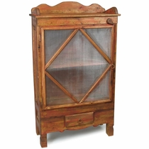 Painted Wood Country Rustic Pie Safe - Pantry Cabinet