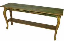 Painted Wood Curved Leg Sofa Table - Green