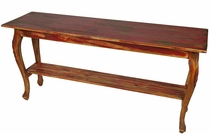 Painted Wood Curved Leg Sofa Table - Red